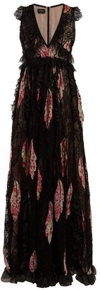 Giambattista Valli Floral-print Lace-trimmed Silk Gown - Black Multi