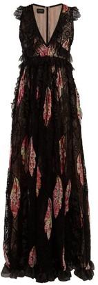 Giambattista Valli Floral-print Lace-trimmed Silk Gown - Black Multi