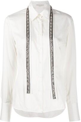 Ermanno Scervino Striped Studded Panel Silk Shirt