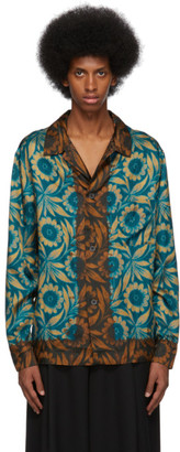 Dries Van Noten Blue and Brown Floral Shirt