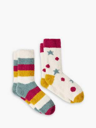 Joules Fab Fluffy Stripe and Star Ankle Socks, Pack of 2, Multi