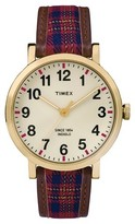Timex Originals Watch with Plaid Strap - Gold/Red TW2P696002B