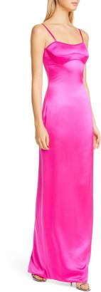 Brandon Maxwell Strapless Column Silk Gown