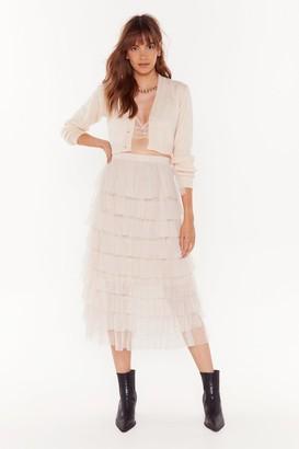 Nasty Gal Womens Mesh Dressed Midi Skirt - white - M/L