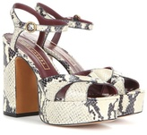 Marc Jacobs Debbie Embossed Leather Platform Sandals