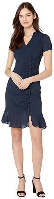 Cupcakes And Cashmere Marlyn Asymmetrical Rayon Crinkle Stripe Shirtdress (Night Sky) Women's Dress