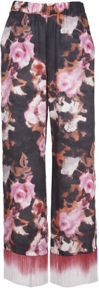 MSGM Palazzo Floral Trousers With Fringes
