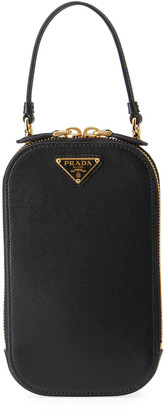 Prada Saffiano Triangle Mini Bag w/ Top Handle and Removable Crossbody Strap