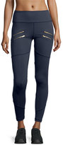 Varley Palms Zip-Detail Compression Running Tights, Navy