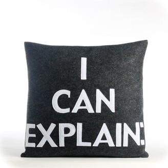 Alexandra Ferguson House Rules I Can Explain Throw Pillow Color: Charcoal Felt/White