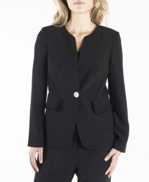 Nanette Lepore Long Sleeve Single Breasted Blazer with Ruffled Flap Pockets