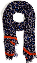 Marc by Marc Jacobs Silk Blend Leonora Leopard Scarf in Blue Multi