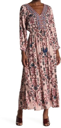 Angie Floral V-Neck Long Sleeve Maxi Dress