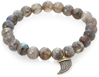 Sydney Evan Labradorite, Brown Diamond & Two-Tone Gold Rondelle Horn Bracelet