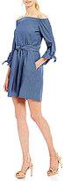 Donna Morgan Off-The-Shoulder Chambray Dress