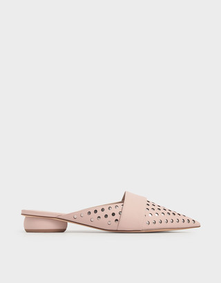 Charles & Keith Laser-Cut Pointed Toe Mules