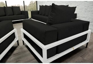 Orren Ellis Tilly 3 Piece Deep Seated Sofa Seating Group with Cushions Orren Ellis Frame Finish: White, Cushion Color: Black