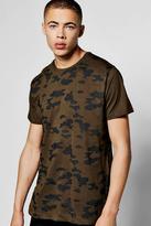 boohoo Longline Camo T Shirt With Side Zip olive