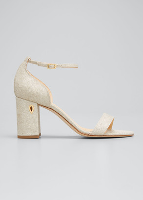 Jennifer Chamandi Massimo 85mm Glitter Block-Heel Sandals