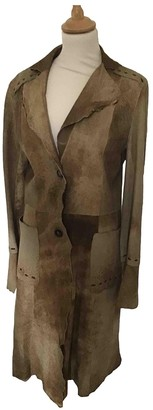 Sylvie Schimmel Brown Leather Trench Coat for Women
