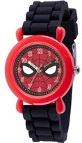 Marvel Spider-Man Boys' Red Plastic Time Teacher Watch, Black Silicone Strap
