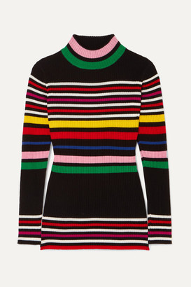 Paper London Striped Ribbed Wool Turtleneck Sweater - Black