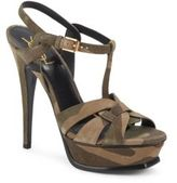 Saint Laurent Tribute Camouflage Suede Platform Sandals