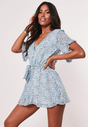 Missguided Blue Floral Ruffle Tie Waist Playsuit