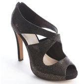Charles by Charles David gunmetal and black cracked leather peep toe pumps