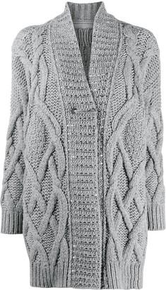 Ermanno Scervino Embellished Cable Knit Cardigan
