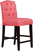 Skyline Tufted Arched Counter Stool, Linen Coral - Linen Coral