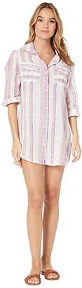Dotti Mykonos Stripe Crochet Back Shirtdress Cover-Up (Pink Multi) Women's Swimwear