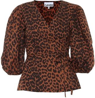 Ganni Leopard-print cotton wrap top