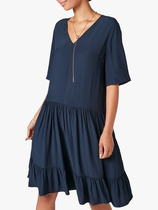Jigsaw Tiered T-Shirt Dress, Navy
