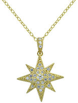 Lord & Taylor Cubic Zirconia and Sterling Silver Goldtone Starburst Pendant Necklace