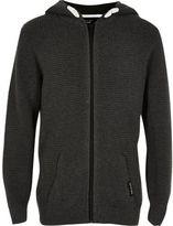 River Island Boys grey waffle zip up hoodie