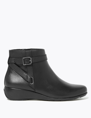 Marks and Spencer Leather Buckle Wedge Ankle Boots