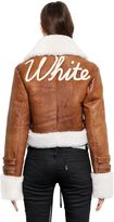 Off-White Embroidered Cropped Shearling Jacket