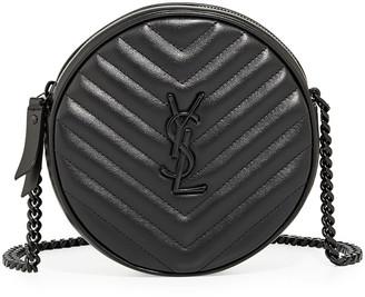 Jade YSL Round Quilted Grain de Poudre Crossbody Bag