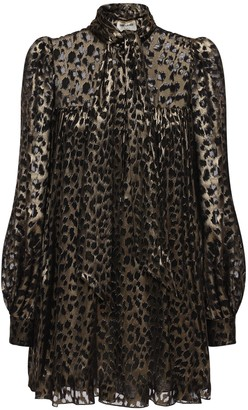 Saint Laurent Leopard Print Sheer Satin Mini Dress