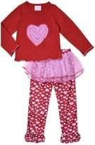 Sara's Prints Girls Tulle Heart 2-Piece Pajama , Kids Size M