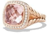David Yurman Albion Ring With Morganite And Diamonds In 18K Rose Gold