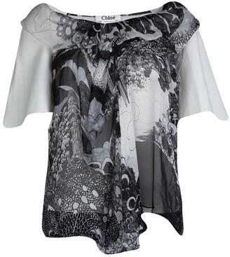 Chloé Monochrome Printed Sheer Chiffon Short Sleeve Blouse S