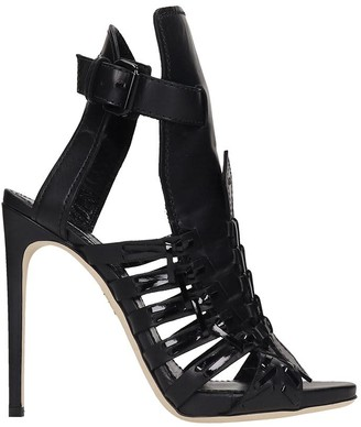 DSQUARED2 Twins Braid Sandals In Black Leather