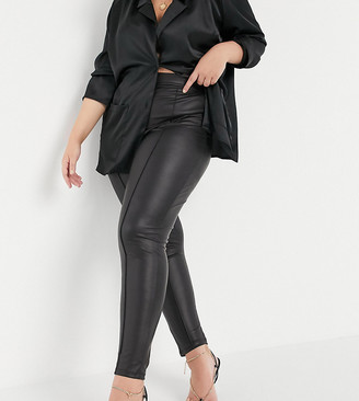 ASOS DESIGN Curve leather look legging with pintuck in black