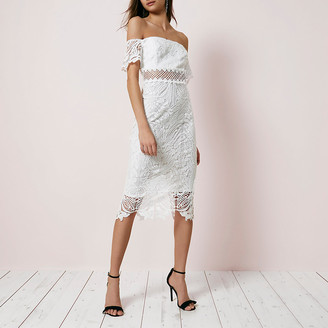 River Island White lace bardot bodycon dress