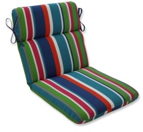 Pillow Perfect St. Lucia Stripe Rounded Corners Chair Cushion