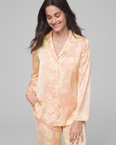 Satin Long Sleeve Notch Collar Pajama Top