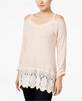 Style&Co. Style & Co. Crochet-Trim Cold-Shoulder Top, Only at Macy's