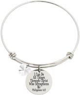 Swarovski Pink Box Women's Bracelets Silver - Stainless Steel 'Philippians 4:13' Bangle With Crystals